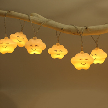 LED Starry Night Lights 2 3 6M String Lights 5 5cm Cloud Shape Lamps Dry Battery Operated Christmas Tree New Year Indoor Lights cheap NoEnName_Null 12 months Plastic LED Bulbs None Wedge 300cm 1-5m White 20-50 head Cloud Night Light Holiday Waterproof living room