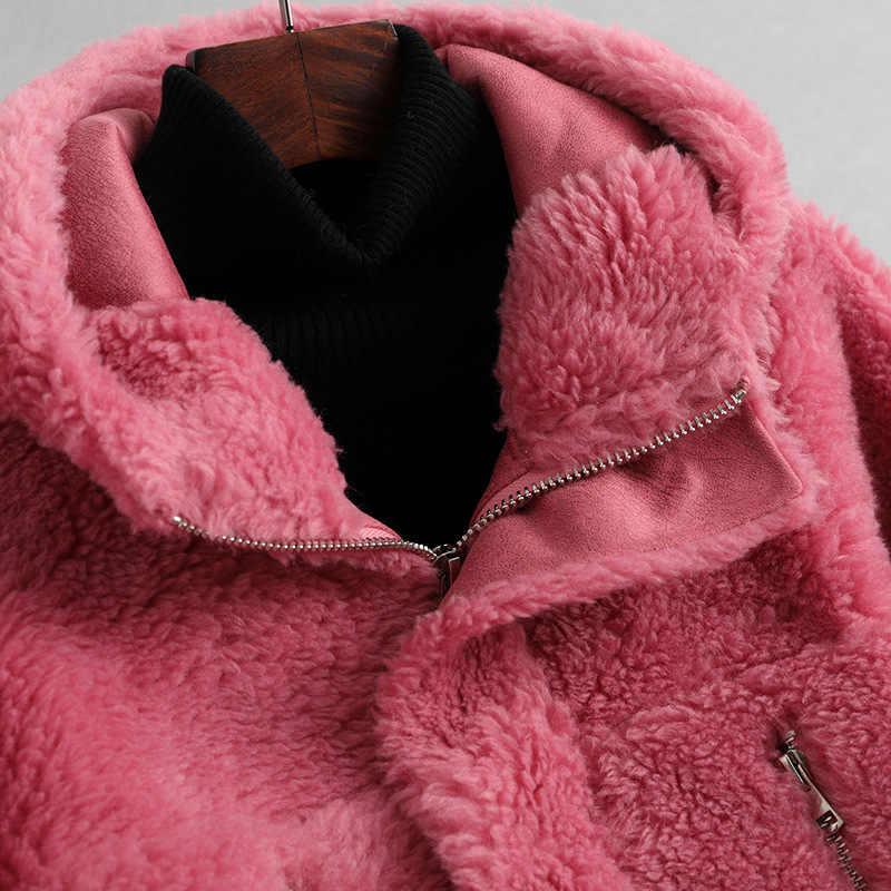Casaco de pele real feminino outono roupas de inverno 2020 coreano do vintage sheep shearing jacket feminino elegante lã casacos de pele hiver 05lw2149