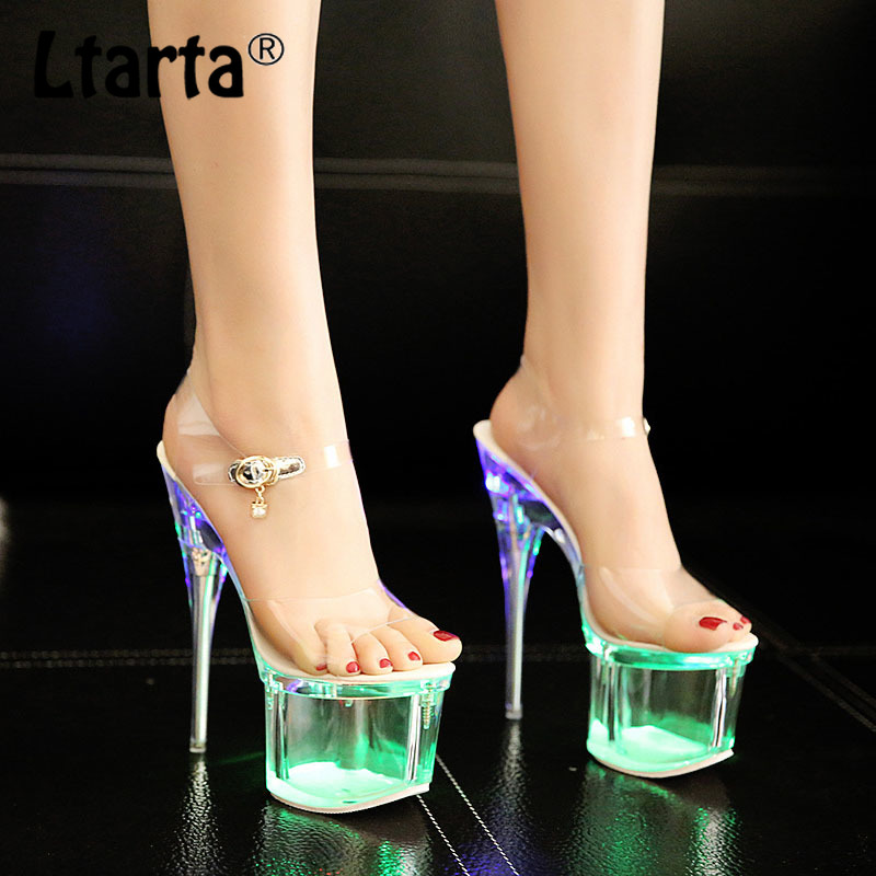 LTARTA 34 43 Women Crystal 14cm Heels Nightclub Luminous Sandals Dance Shoes Crystal Waterproof LED Sandals Innrech Market.com