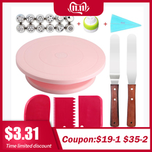 Cake Stand Turntable Rotating Base Cake Plastic Dough Knife Decorating 10 Inch Cream Cakes Stand set Cake Rotary Turntable tool