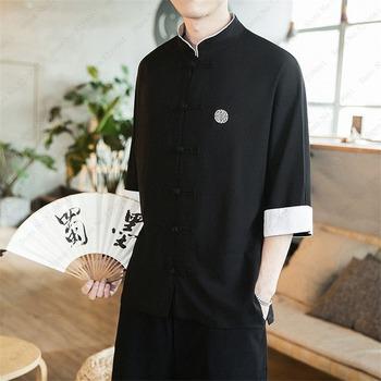 Tradycyjna chińska odzież dla mężczyzn topy Retro strój Tang pościel z długim rękawem solidne kurtki Kung Fu chiński styl bluzka Hanfu tanie i dobre opinie COTTON Linen CN (pochodzenie) Suknem 2019 M L XL 2XL 3XL 4XL 5XL black blue red beige Traditional Chinese clothing Tang suit