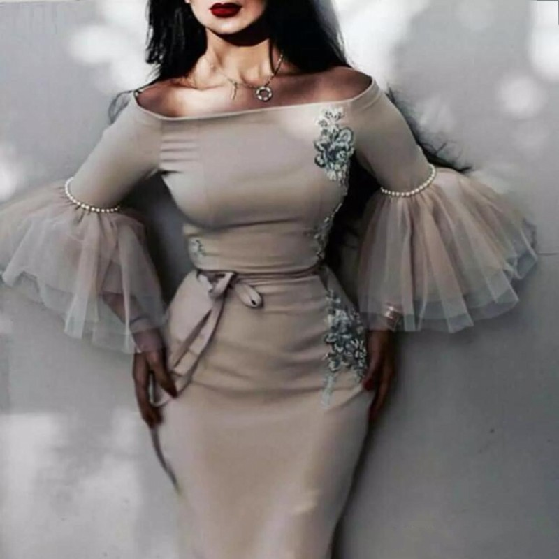 Saudi Arabic Mermaid Evening   Dresses   Three Quarter Sleeves Appliques Pearls Formal Party Gowns Off The Shoulder   Prom     Dresses