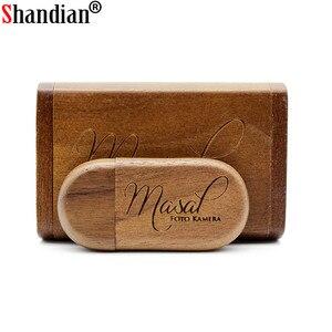 Image 2 - SHANDIAN Personalizza Il LOGO di legno + Box Personale LOGO pendrive 4GB 16GB 32GB 64GB usb Flash Drive memory stick U disk Regalo di nozze