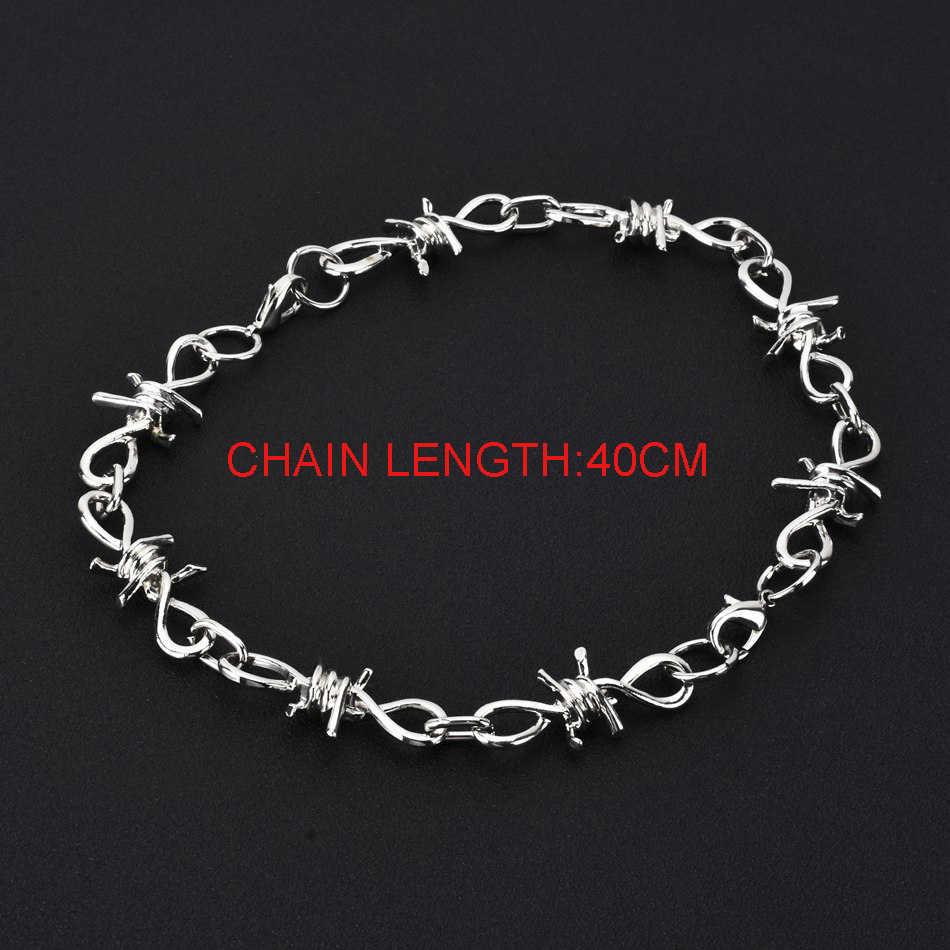 Wowtiger nova moda punk espinhos de ferro das mulheres dos homens unissex corrente colar pescoço cadeado 2 pulseiras costura jóias