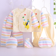 7pcs Newborn Baby Clothing Set Cotton Infant Girl Boy Clothes Outfits Pants Hat Bib 0-3 Months