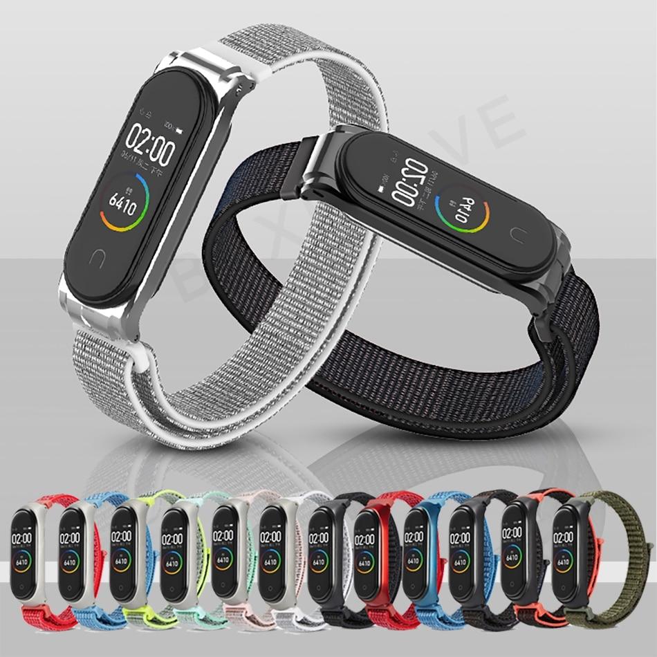 Protector/Bracelet Mi Band 3 4 Strap For Xiaomi Mi Band 4 3 Bracelet/Strap For MiBand 4 3 Wrist Strap Metal/Nylon Wristband Belt