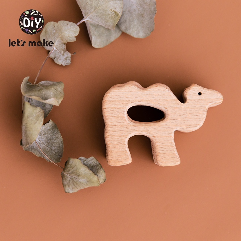 Let's Make Baby Teether Wooden Rodent Camel Animal Cartoon PVC Free 4-6 Months 1PC Beech Food Grade DIY Accessories Baby Product