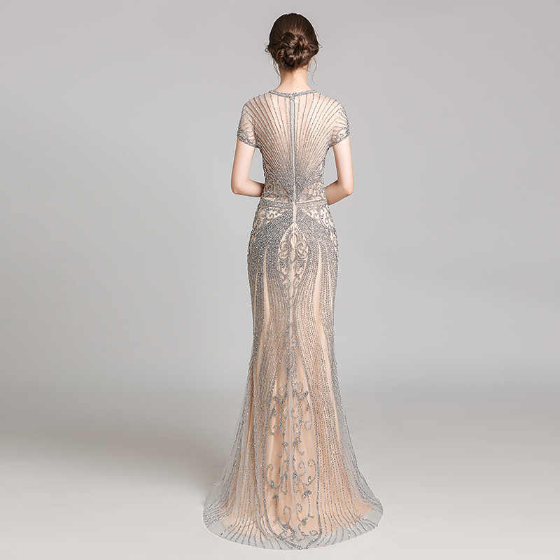 Luxo Pedrinhas Sereia Vestidos Celebridade Oscar Estrela Red Carpet Dress Vestido Pageant Formal Longa Noite Vestidos de Festa L5553