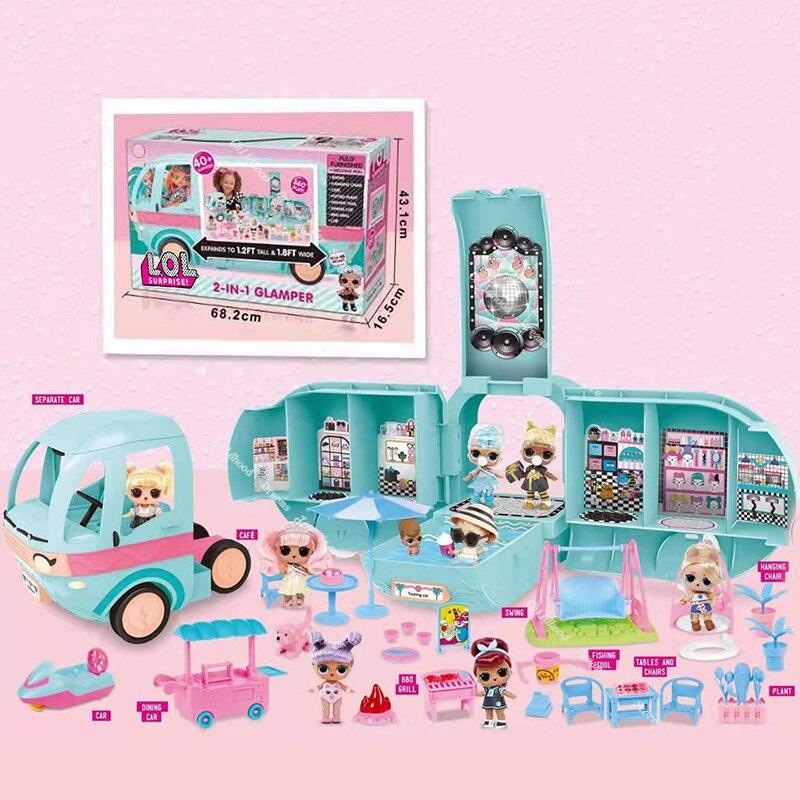 Lol original surpresa brinquedos lol bonecas diy 2-em-1 ônibus brinquedo l.o.l surpresa jogar casa jogos brinquedos para crianças meninas presentes de aniversário