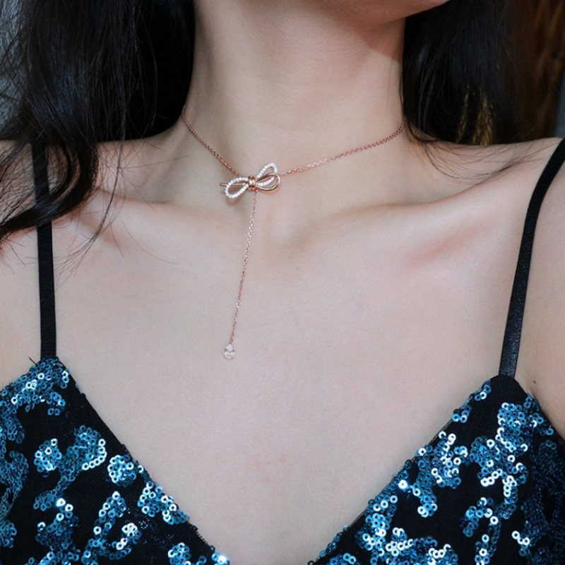 Romantic 925 Sterling Silver Bow Necklace Sweater Clavicle Chain Temperament Adjustable Pendant Woman Wedding Christmas Gift