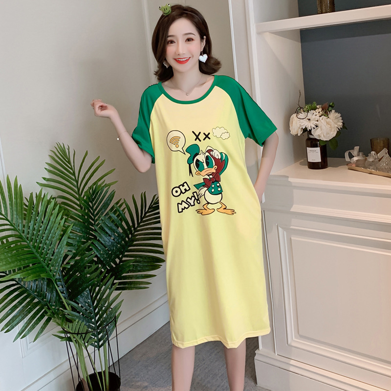 695 # Donald Duck Pajamas Women's Summer Home Wear-Outer Wear Nightgown 6535 Knitted Cotton 3 PCs Code