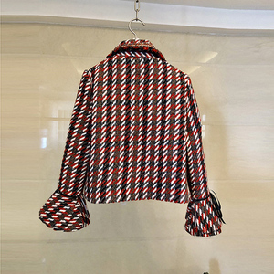 Image 3 - 2019 Autumn Plaid Tweed 2 Piece Set Winter Women Elegant Flare Sleeve Pearl Button Jacket Coat+High Waist Wool Mini Skirt Suits