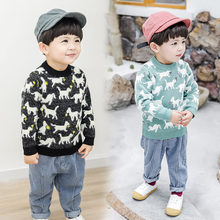 Knit Sweater With Goat for Kids Boy Wool Cashmere Pullover Knitted Knitwear Baby Toddler Autumn Winter Tops
