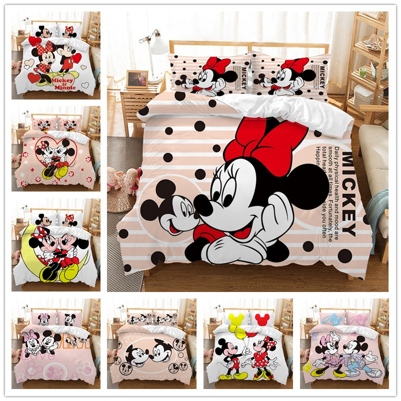 Mickey Minnie Mouse 3D Printed Bedding Sets Adult Twin Full Queen King Size White Black Bedroom Decoration Duvet Cover Set