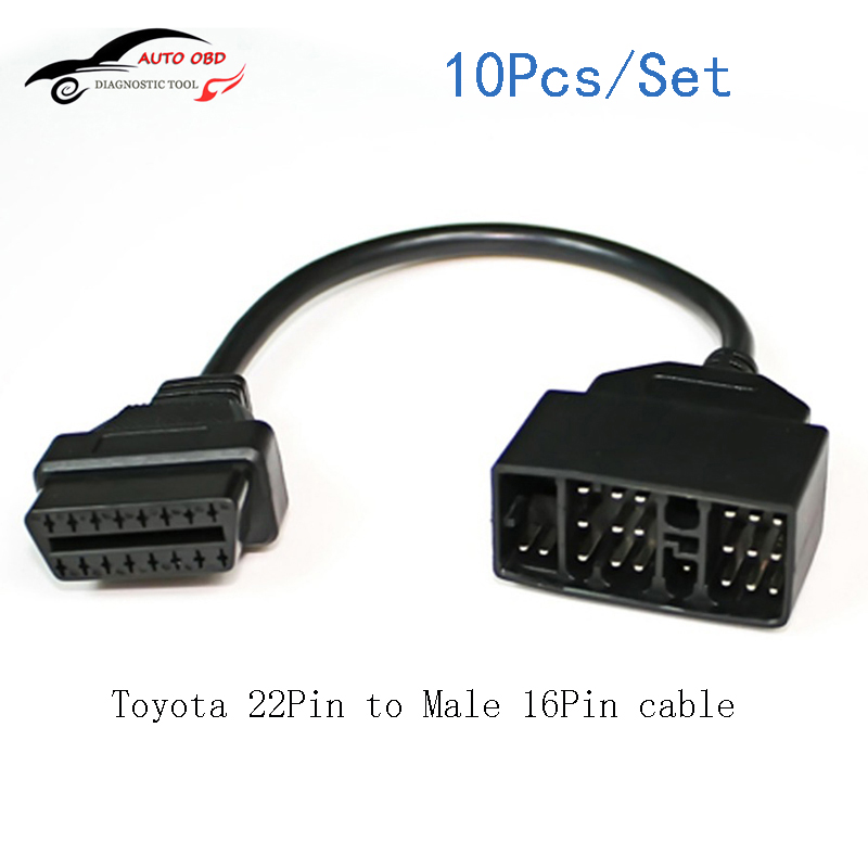 10Pcs/Set OBD OBD 2 Cable For <font><b>Toyota</b></font> <font><b>22</b></font> <font><b>Pin</b></font> To 16 <font><b>Pin</b></font> Female <font><b>OBD2</b></font> OBDII Cable Connector <font><b>Adapter</b></font> Cable Car Diagnostic Tools image