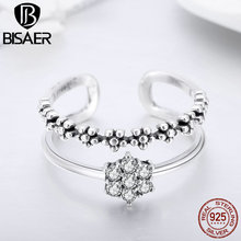BISAER Genuine 925 Sterling Silver Double Layers Adjustable Open Finger Rings for Women Fashion Jewelry HSR428 bisaer silver rings 925 sterling silver pet french bulldog open finger ring for women silver ring fashion jewelry hsr411