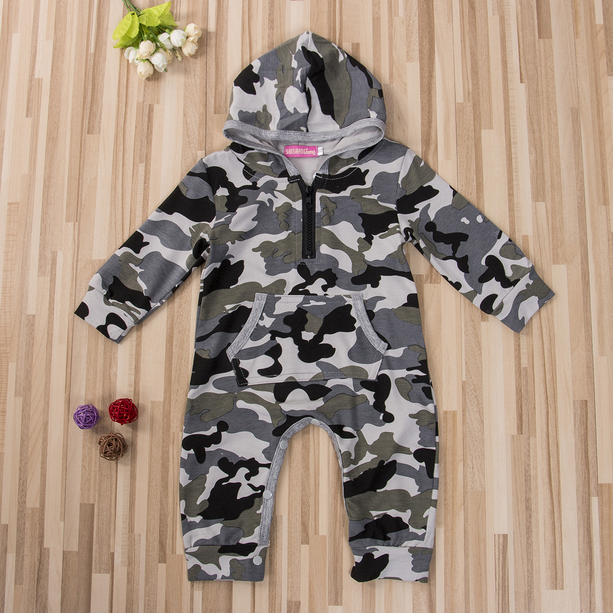 0-24M Infant Baby Boy Hooded Camouflage Romper Newborn Baby Camo Long Sleeve Romper Warm Spring Autumn Jumpsuit Outfit Boys