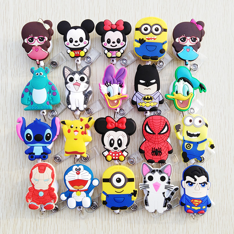 1pcs/lot Cute Silica Gel CartoonTelescopic Badge Reel  Bus Card Student Nurse ID Name Card 2020 New Badge Holder Office Supplies