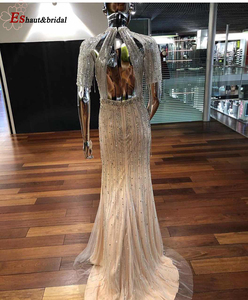 Image 2 - 2020 High Neck Beads Handmade Evening Dress Short Sleeves Backless Luxury Formalm Party Gowns