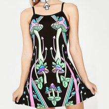 Aberto de volta sling sexy mini vestido de moda feminina casual vestidos de festa de verão harajuku vestido de verão feminino vestido de cogumelo