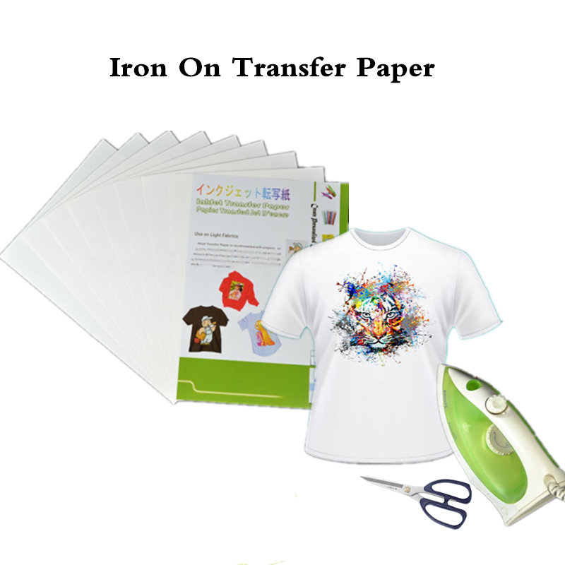 (10pcs/lot) Iron On Inkjet Heat Transfer Printing Paper For Textil Iron On Tshirt Transfers Thermal Transfer Papel Dye Ink