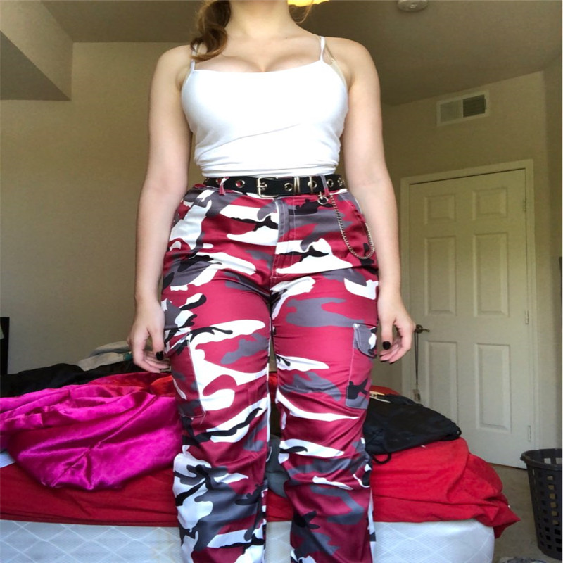 H5fbc4e496ace4f6093562977b72c6f28N Women's Camouflage Cargo Trousers Casual Pants Military Army Combat Camouflage Jeans Sexy Women Casual Colorful Camou Jeans