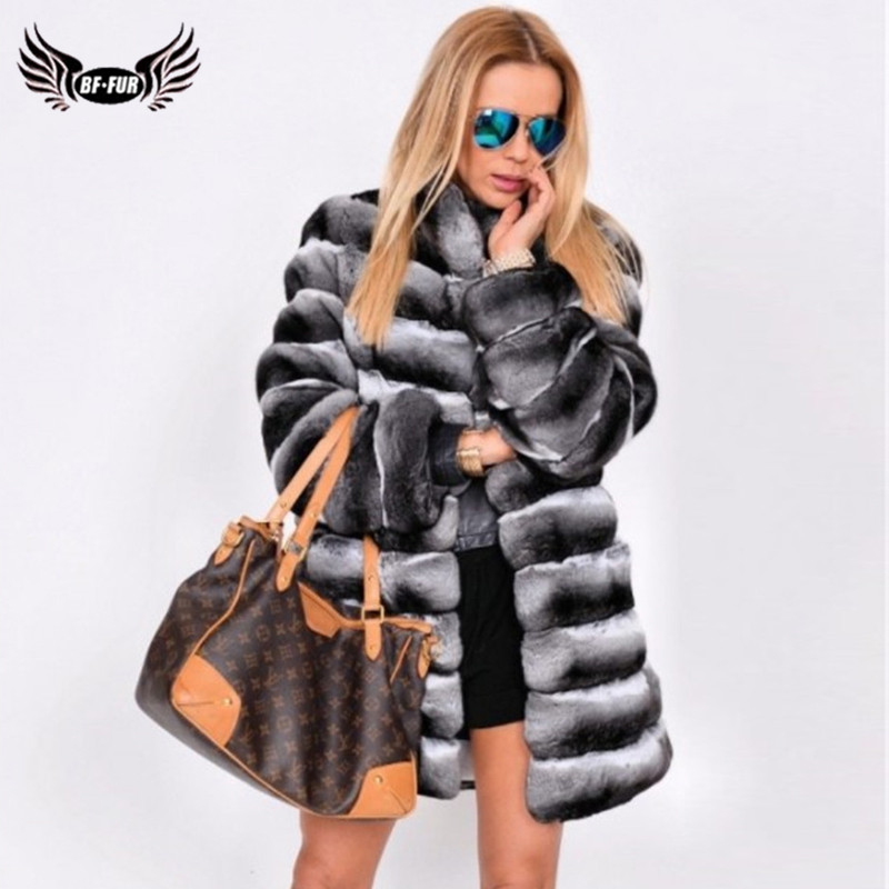 Genuine Fur Jacket Women Natural Real Chinchilla Rex Rabbit Fur Coat Stand Collar Full Pelt Fur Coats Winter Outwear Luxury 2019