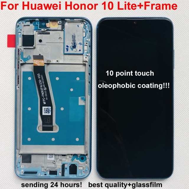 100% huawei 社の名誉用の元の表示 10 lite 液晶タッチスクリーンデジタイザとフレームグローバルバージョン名誉 10i HRY LX1 HRY LX2