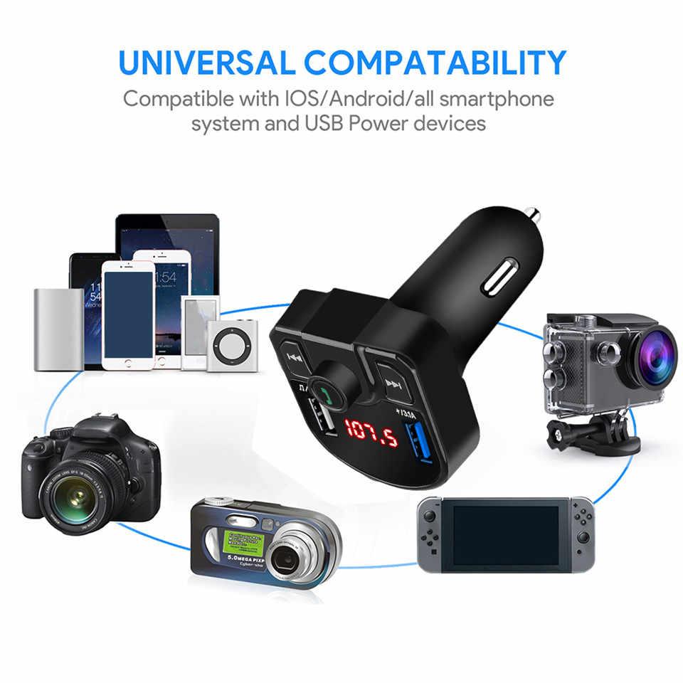 Bluetooth 4,2 reproductor MP3 Kit manos libres para coche transmisor FM soporte tarjeta TF U disk qc3.12.0 a rápido Dual USB cargador adaptador de corriente