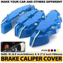 4 pçs 5 cores abs plástico carro 3d disco pinça de freio cobre dianteiro & traseiro acessórios kit tamanho m + s universal