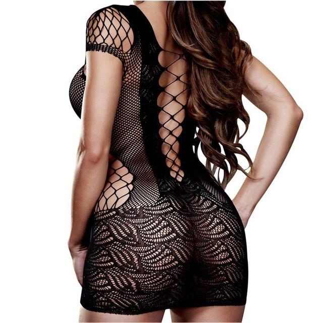 Sexi Women Fishnet Night Dress Hot Bodycon Clubwear Vestido Sexy Costumes Catsuit Erotic Transparent Midi Dresses mujer porno 2