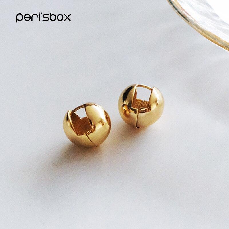 Peri'sBox 4 Designs Round Ball Geometric Earrings Textured Gold Earrings For Women Star Earrings Basket Huggie Earrings 2019
