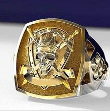 Модные ювелирные кольца кольцо с золотым черепом в стиле панк