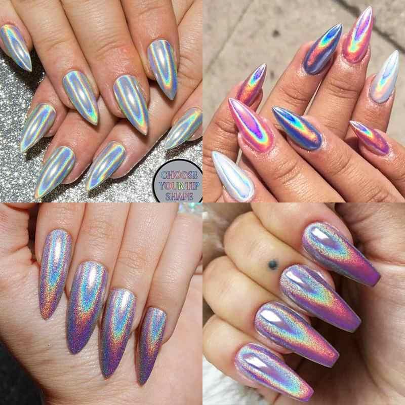 1 kutu Glitter çivi Holographics daldırma tozu ayna parlatma krom pigmentler gümüş Nail Art süslemeleri lazer göz kamaştırıcı toz