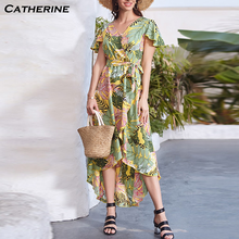 Women Summer Dress 2020 Bohomia Floral Print Maixi Dresses Fashion Belt Tunic Boho Eveing Party Long Dress Women Vestidos#J3(China)