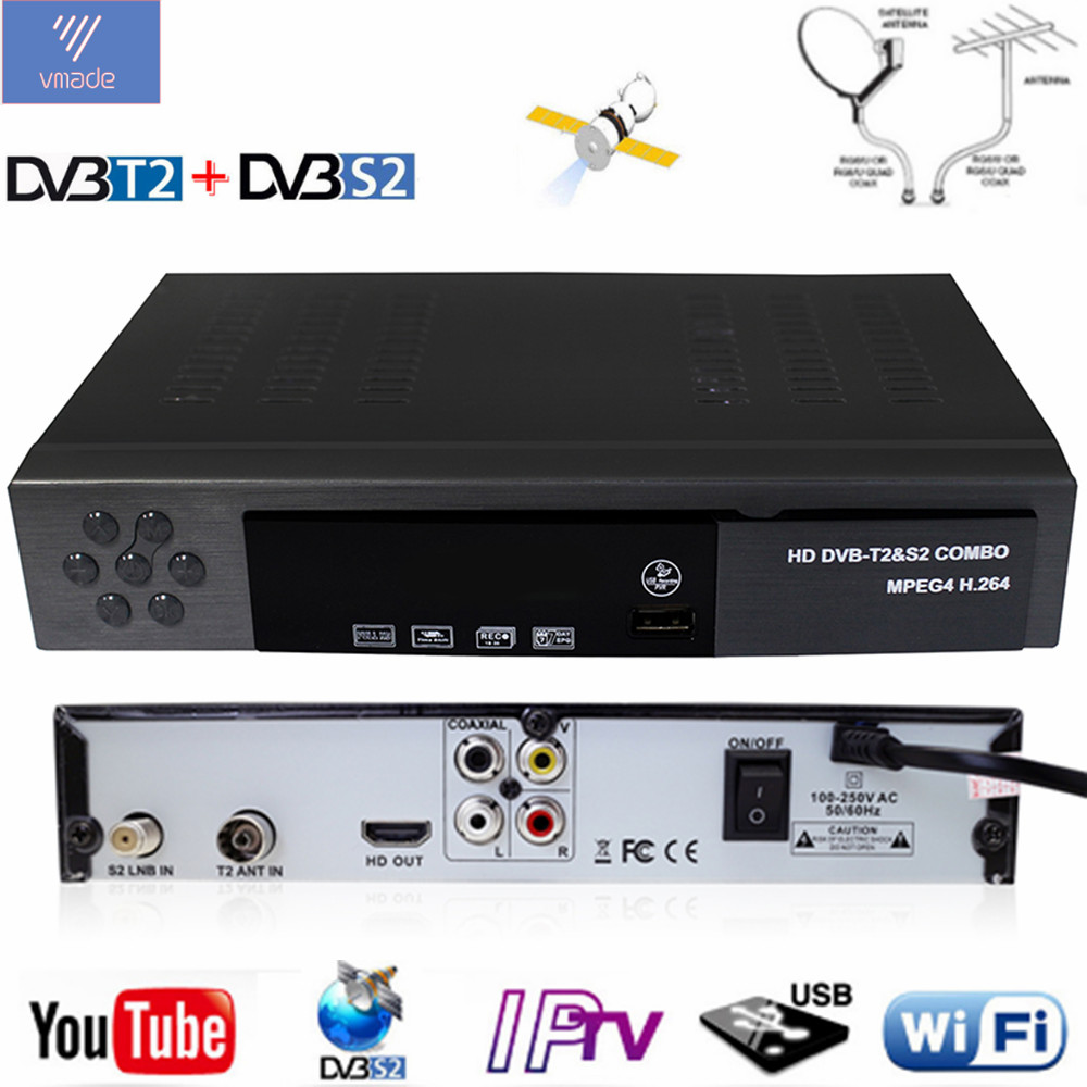 Vmade Newest Combo DVB-T2 DVB-S2 H.264 Digital Terrestial Satellite Receiver Support Dolby AC3 Cccam Biss Key HD Set-Top Box