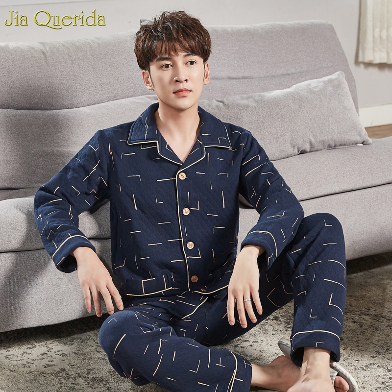 Mens Pajamas Big Size Winter Warm Home Wear Cardigan Button Pocket 100% Double Sides Cotton Embossing Diamond Pattern Sleepwear