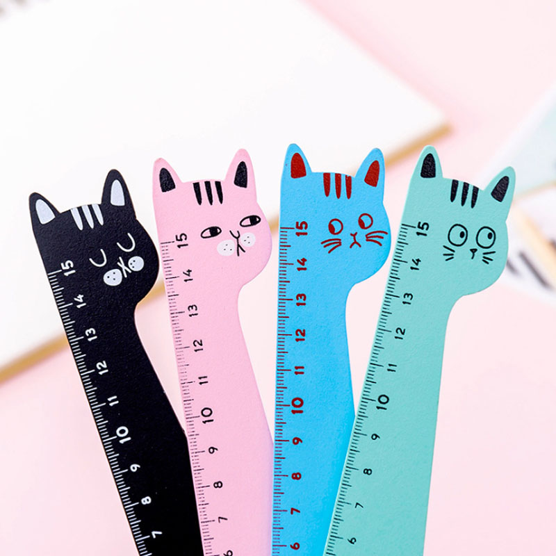 1pcs/lot Cartoon Animal Cat Shape Wooden Ruler Wooden Straight  Measuring Straight Ruler Tool Gift Stationery