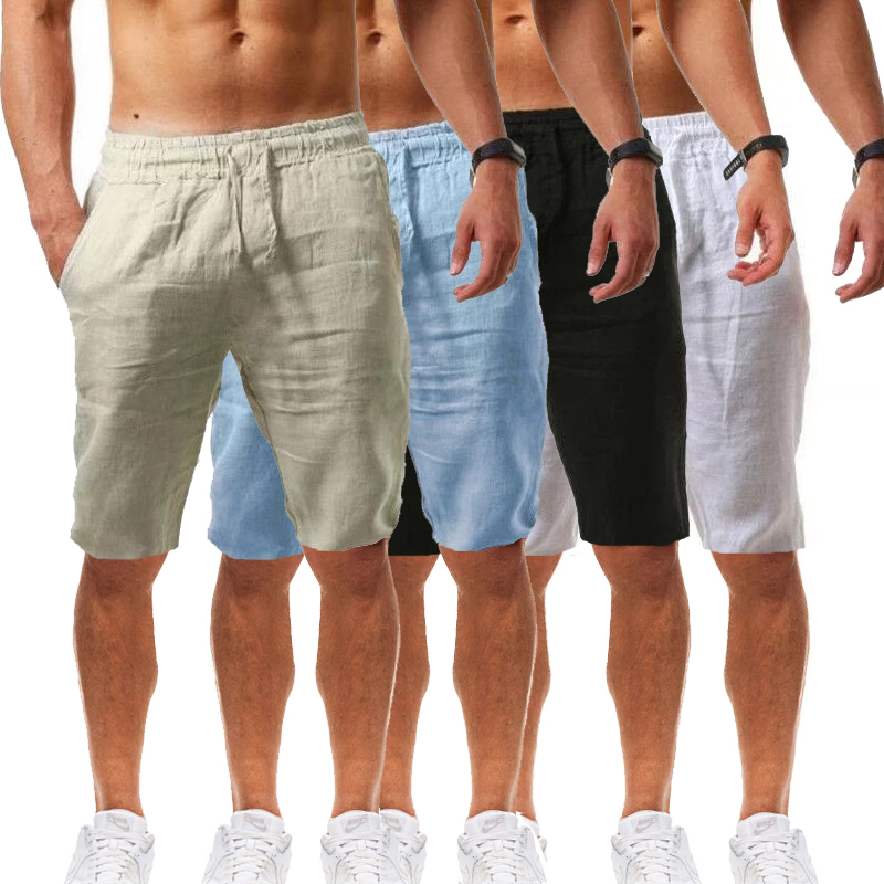2021 Men's New Style Cotton And Linen Casual Beach Shorts, Explosive Style Lace-Up Multi-Color Loose Shorts