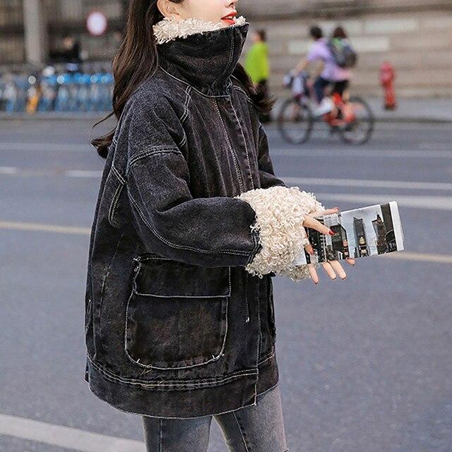Jacket Women 2020 Black Women's Winter Loose Plus Velvet Wool Roll Tooling Thick Denim Jacket Coat Jacket Ladies Korea Пуховик 1