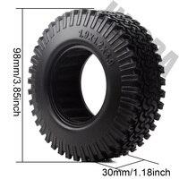 INJORA 4PCS 98MM 1.9 Rubber Wheel Tires for 1:10 RC Rock Crawler Axial SCX10 AXI03007 D90 TF2 Tamiya CC01 1.9 Inch Tyres 2
