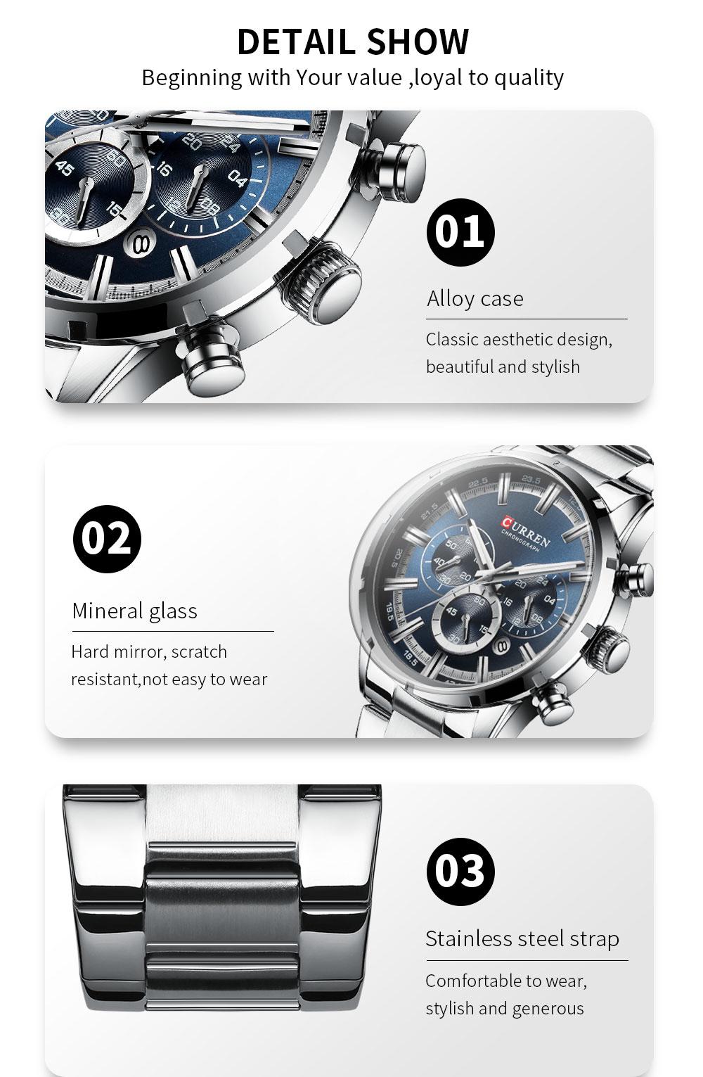 H5fbd5e5028a445adbf954a90a087ba61Z CURREN Top Brand Military Quartz Watches Silver Clock Mens Quartz Stainless Steel Chronograph Watch for Men Casual Sporty Watch