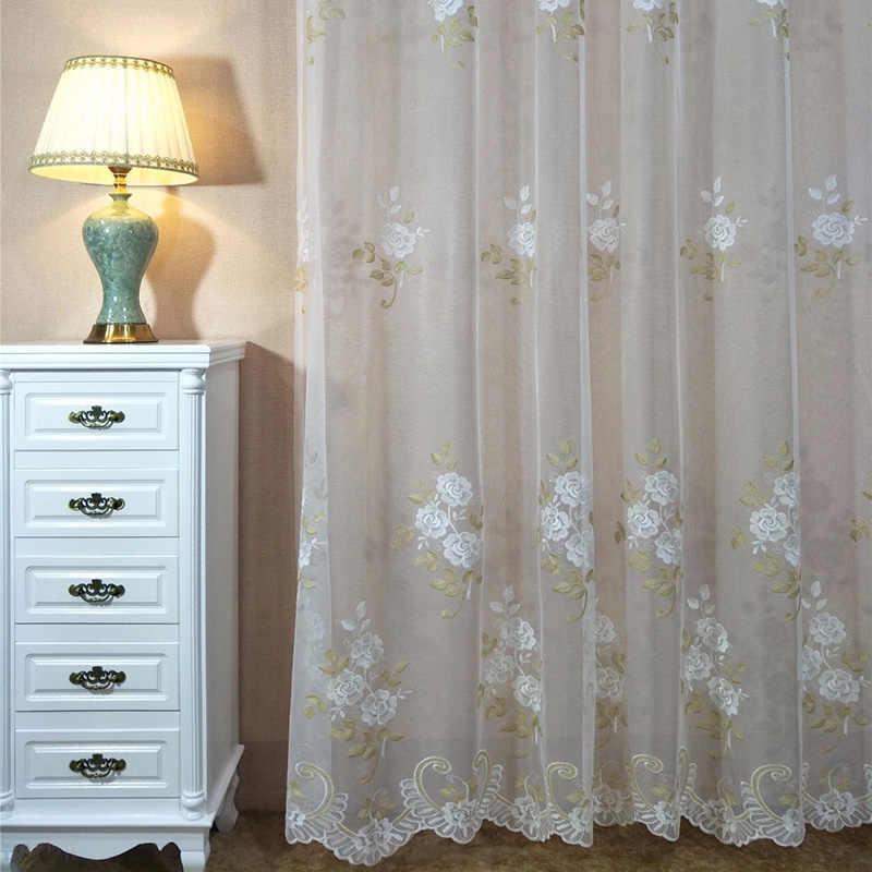 Романтический Китайский Сельский свежий цветок орхидеи вышитые занавески кружева для гостиной спальни bay окно законченный продукт M151-50