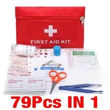 Kit de tratamento ao ar livre wilderness survival 79 pçs mini seguro acampamento caminhadas carro primeiros socorros saco kit emergência médica