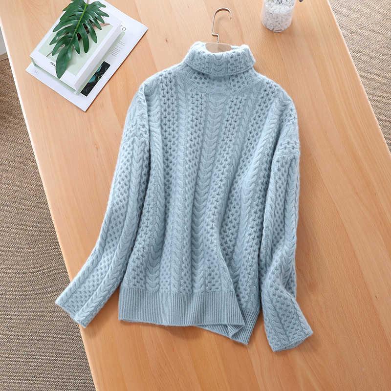 2019 가을, 겨울 새로운 여성 스웨터 높은 칼라 캐시미어 스웨터 여성의 두꺼운 더미 칼라 니트 바닥 셔츠