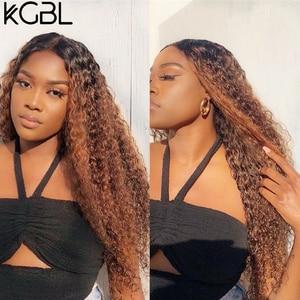 """Image 5 - KGBL кудрявые 360 Ombre передний парик человеческих волос с волосами ребенка 250 плотность 8 """" 24"""" бразильский Non Remy средний коэффициент для черных женщин"""