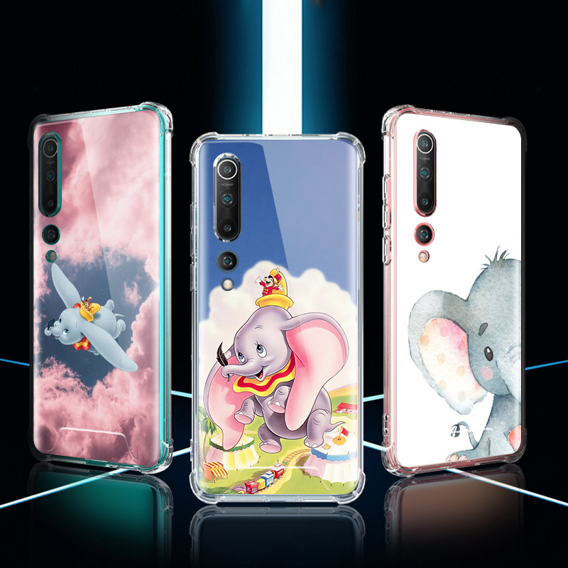 Dumbo Elephant Case For Xiaomi Mi Note 10 9 CC9 9T Pro 5G CC9E A2 Lite X2 Airbag Anti Fall TPU Phone Coque