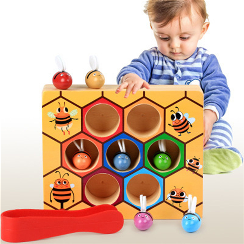 Children Clip Beehive Games Intelligence Color Cognition Toys Wooden Early Montessori Childhood Education Toy Clip Small Bee Toy