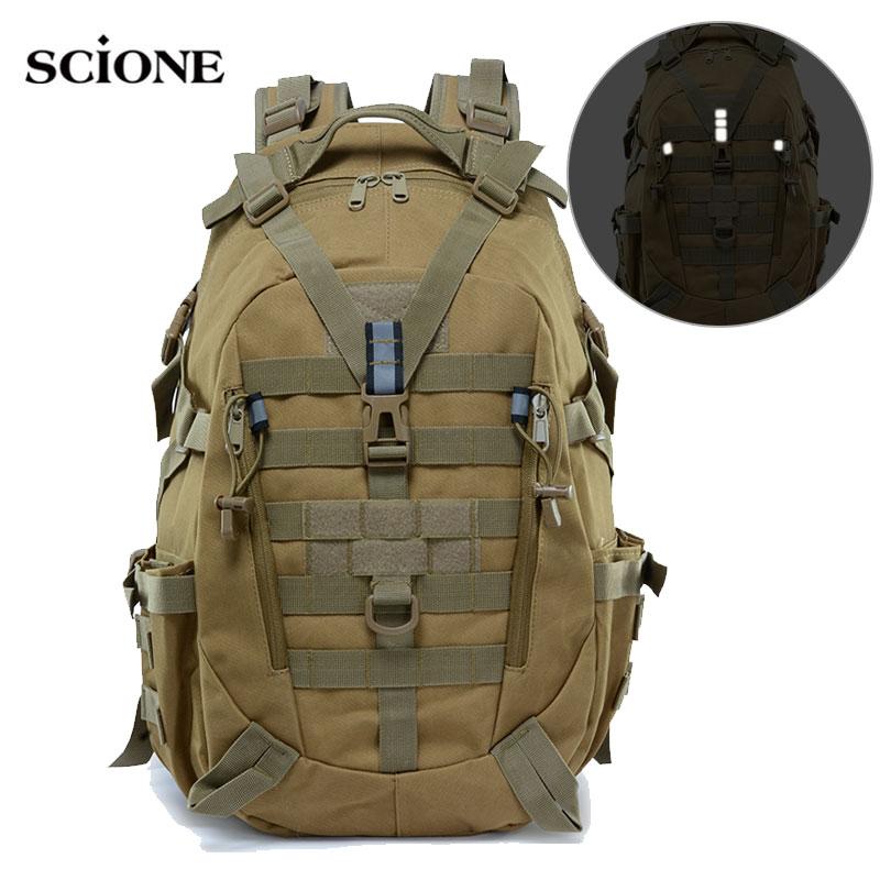 40L Camping Backpack Military Bag Men Travel Bags Tactical Army Molle Climbing Rucksack Hiking Outdoor Reflective Bag XA714A