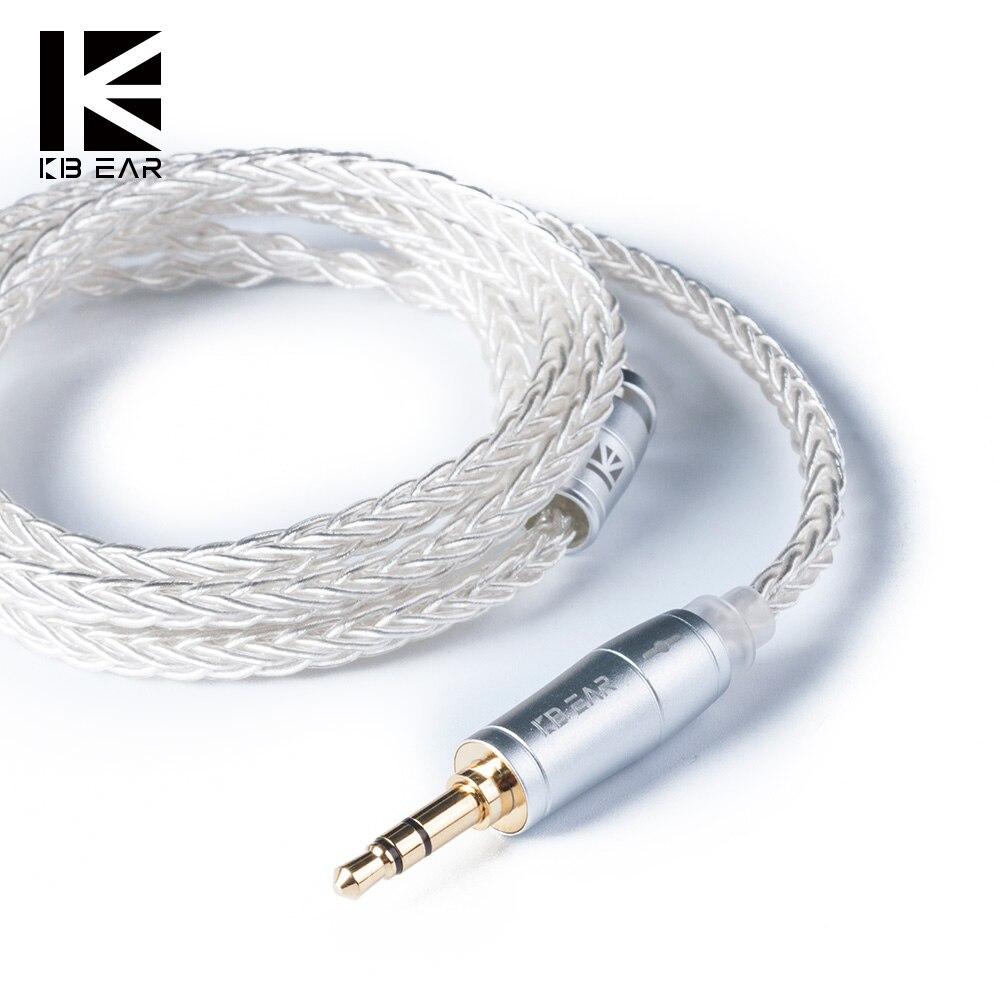 Обновленный серебристый кабель KB EAR 8 Core 2pin/MMCX/QDC с кабелем для наушников 2,5/3,5/4,4 Для A10 C10 ZS10 ZST IM2 X6